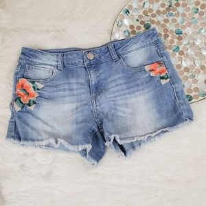 Mudd Cut Off Denim Jean Shorts Embroidered Stretch